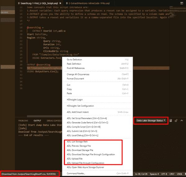 Azure Data Lake Tools for Visual Studio Code (VSCode) October Updates | Blog | Microsoft Azure