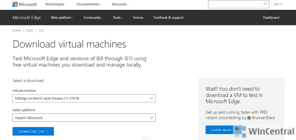 Microsoft Edge virtual machine Preview 17.17074 available to download