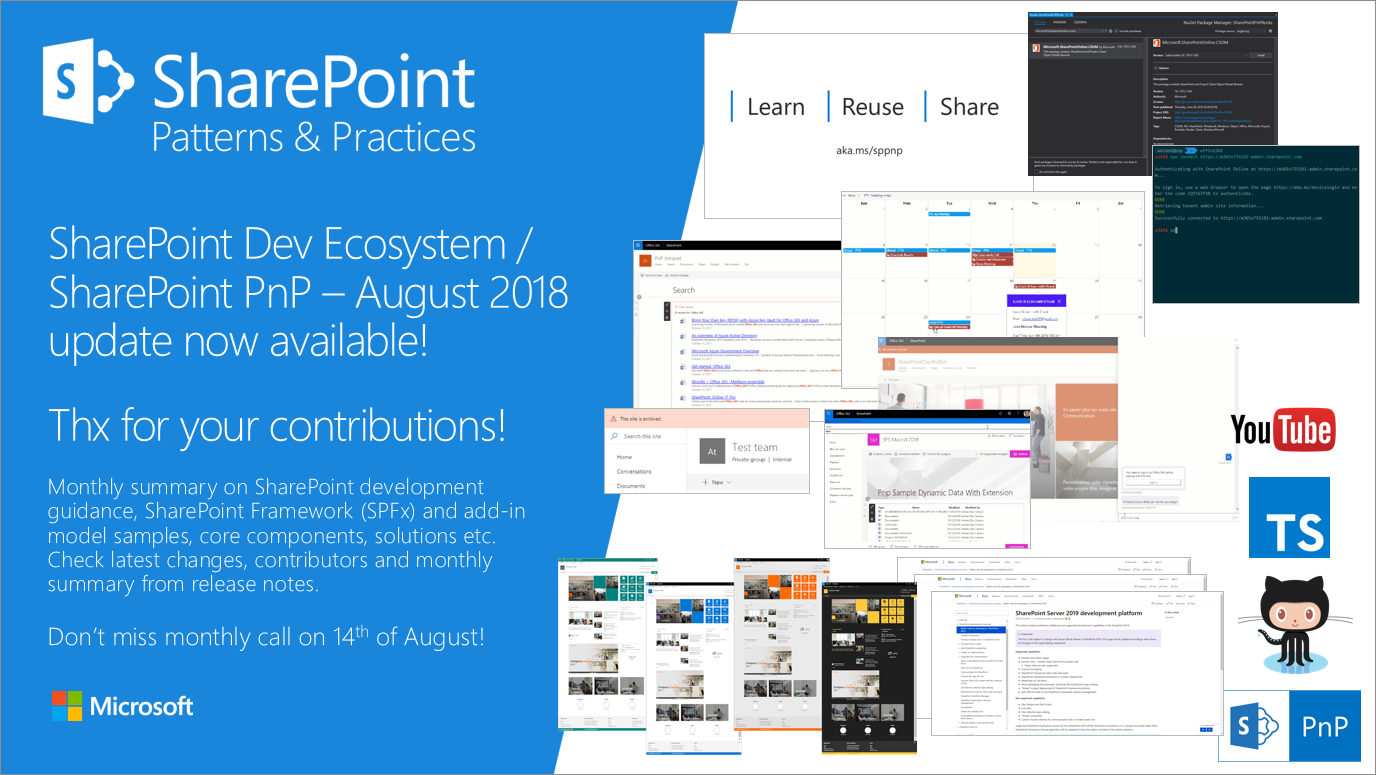 SharePoint Dev Ecosystem / SharePoint PnP - August 2018 update now available - Microsoft Tech Community - 228056