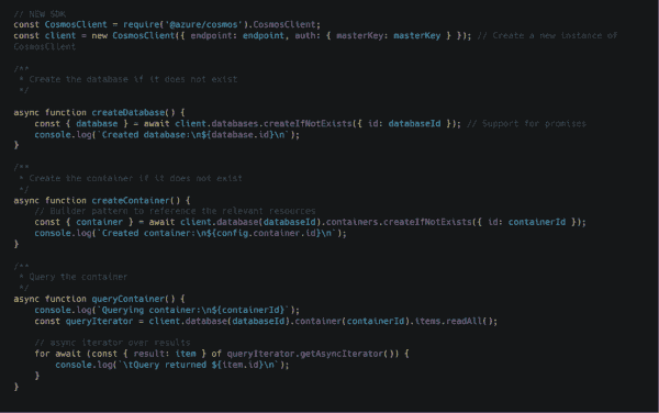 Azure Cosmos DB JavaScript SDK 2.0 now generally available   Blog   Microsoft Azure