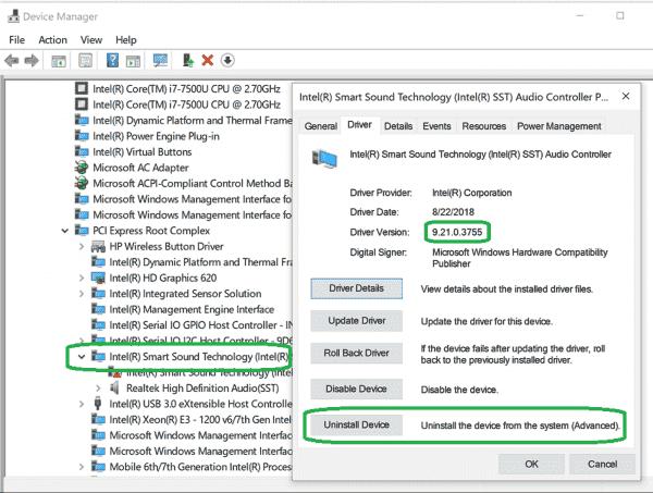 If Windows Update sent you Intel Audio Controller version 9.21.0.3755 by mistake, uninstall it  Matthew van Eerde's web log