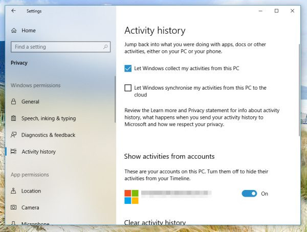 Windows 10 sends activity history to Microsoft even when told not to