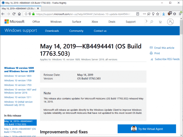 Microsoft Windows Security Updates May 2019 overview - gHacks Tech News