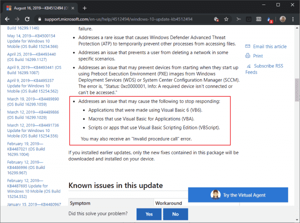 First updates released that fix the Windows VB bugs - gHacks Tech News
