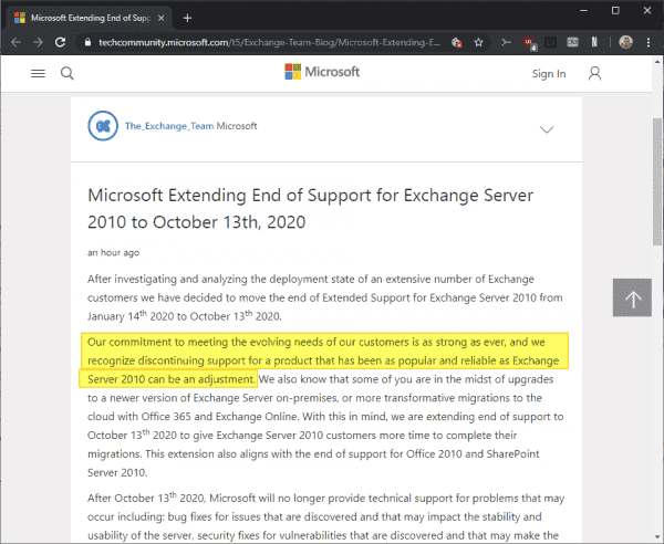 Microsoft extends Exchange Server 2010 End of Support with a surprising remark - gHacks Tech News