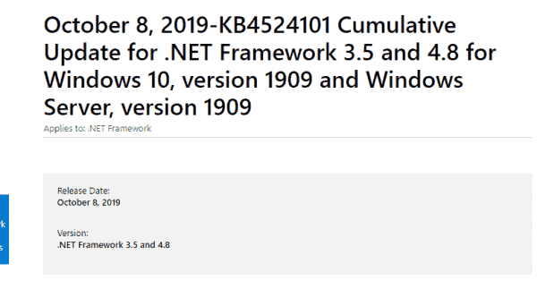 KB4524101 NET Framework 4.8, 3.5 Windows 10 1909 [Patch Tuesday] 08 Oct 2019