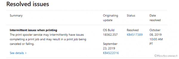 Intermittent Issues When Printing in Windows 10 Gets Resolved Status