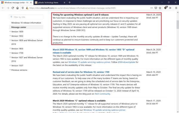Microsoft is pausing optional Windows update releases - gHacks Tech News