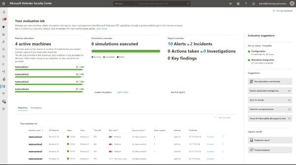 Microsoft Defender ATP evaluation lab breach & attack simulators available