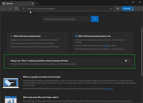 Microsoft Edge InPrivate Windows allow enforcing Strict Tracking Prevention