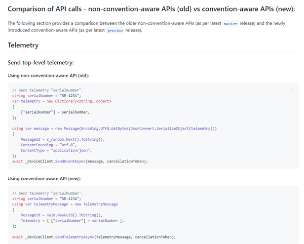 New native PnP APIs in Device client SDK