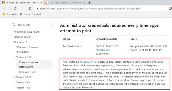 Microsoft marks latest Windows printing issue as resolved (KB5005033) - gHacks Tech News