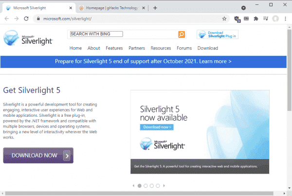 Microsoft Silverlight support ends October 12, 2021: here is what you need to know - gHacks Tech News