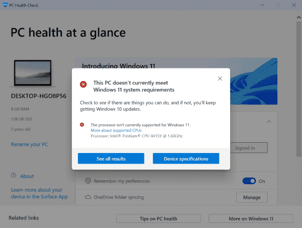 Microsoft's Windows 11 compatibility app PC Health Check is available for everyone now - gHacks Tech News