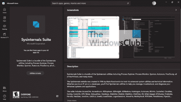 Sysinternals Suite is now available via the Microsoft Store and WINGET