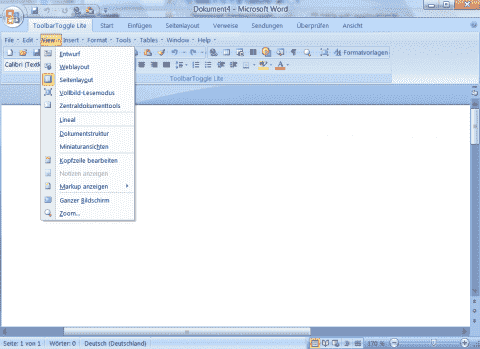 Classic Office 2003 menus and toolbars for Office 2007