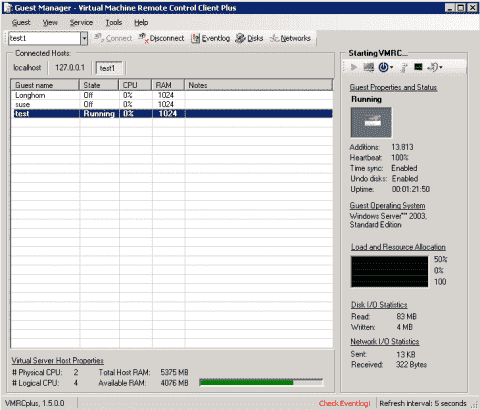 Review: VMRCplus – A GUI tool to manage Microsoft Virtual Server 2005 R2