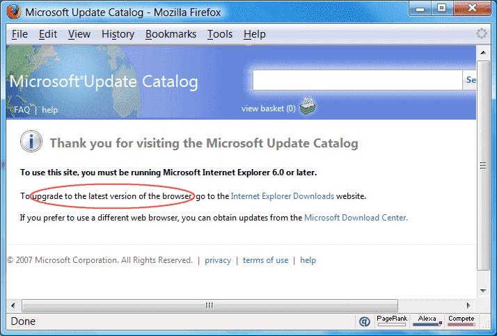 microsoft update catalog activex control