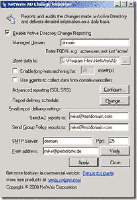 FREE: NetWrix Active Directory Change Reporter