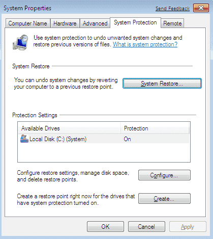 Windows 7 system restore sometimes also called system protection has