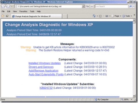 FREE: Change Analysis Diagnostic Tool for Windows XP
