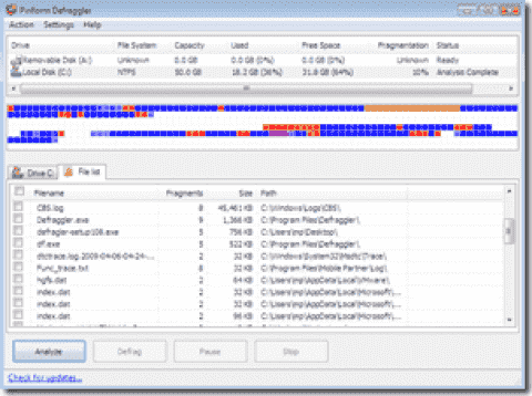 FREE: Defraggler – Defrag individual files and folders