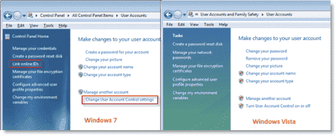 Differences between Windows 7 and Vista user account management