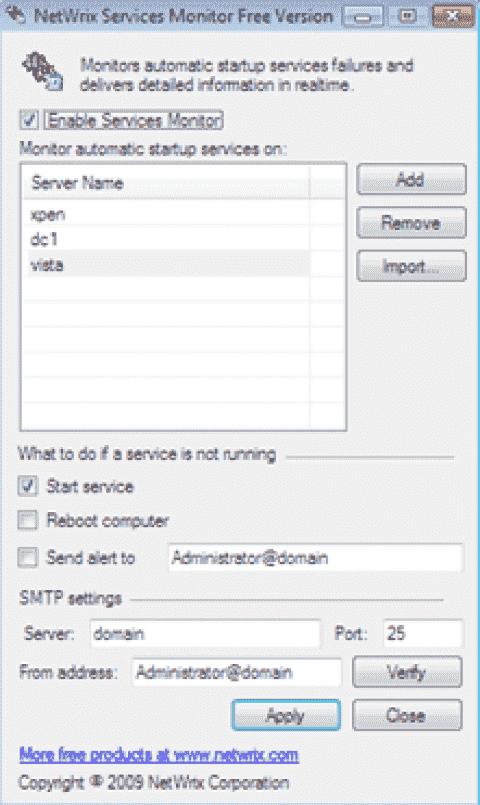 FREE: NetWrix Services Monitor – Restart failing Windows services