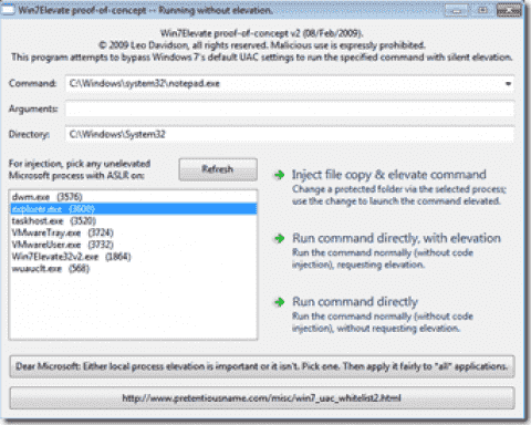 Windows 7 RC UAC security vulnerability: Auto elevation