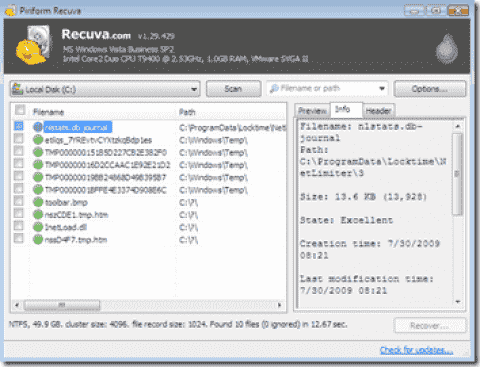 FREE: Recuva – Recover accidentally deleted files