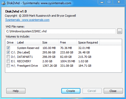 FREE: Disk2vhd – A simple P2V tool that creates VHDs for