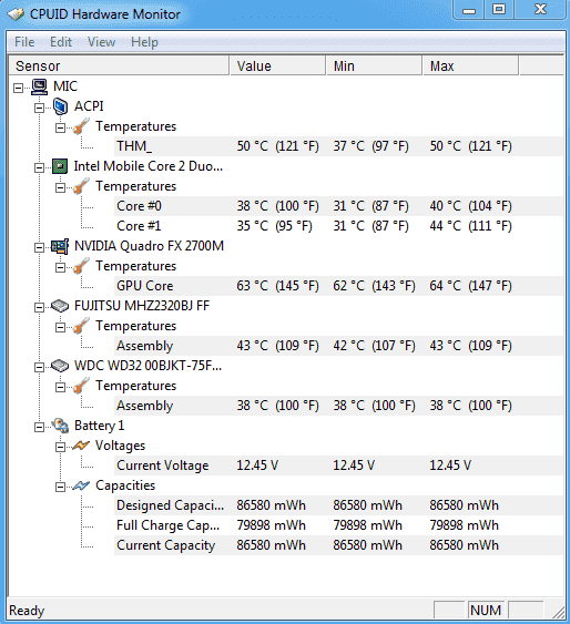 FREE: CPUID HWMonitor – Measures temperatures for many hardware