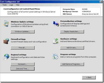 Core Configurator 2.0 Control Panel