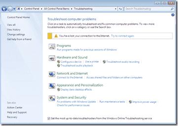Windows 7 Troubleshooting Platform