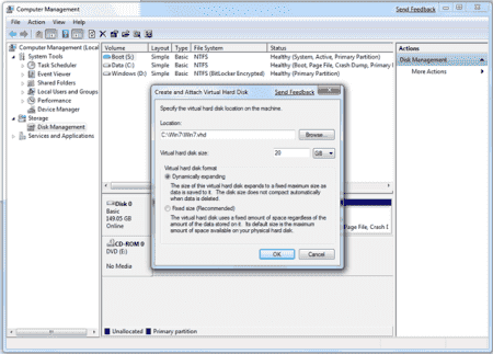 Create VHD from disk manager
