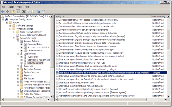 Group Policy Interactive logon Number of previous logons to chache