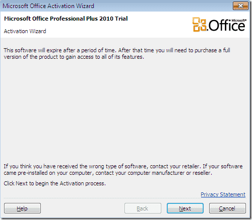 Office 2010 Activation Wizard