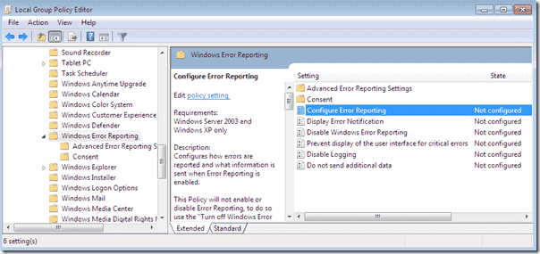 Disable Windows Error Reporting Group Policy