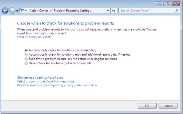 Disable Windows Error Reporting Windows 7