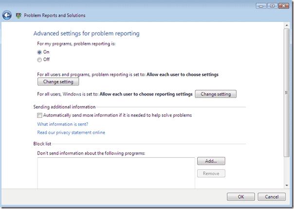 Disable Windows Error Reporting Windows Vista