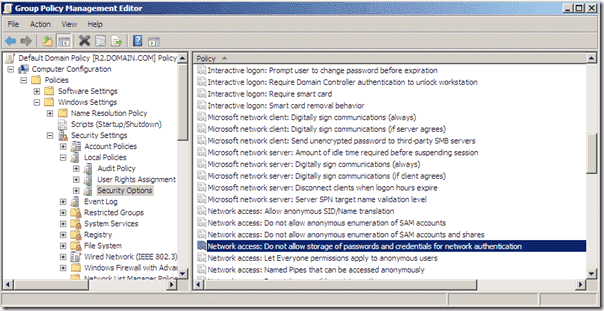 Group Policy Do not allow strorage of passwords and credentials for network authentication