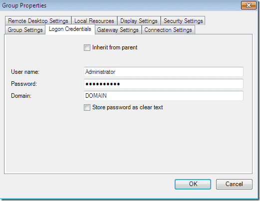 Remote Desktop Connection Manager Group Properties
