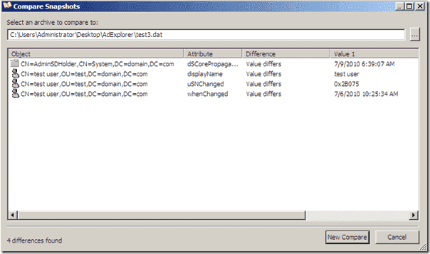 Active Directory Explorer Compare Snapshots Results