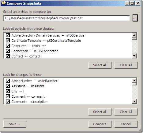 Active Directory Explorer - Compare Snapshots