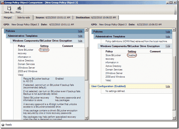 Active Directory Backup Blackbird Recovery - Group Policy Rollback Compare