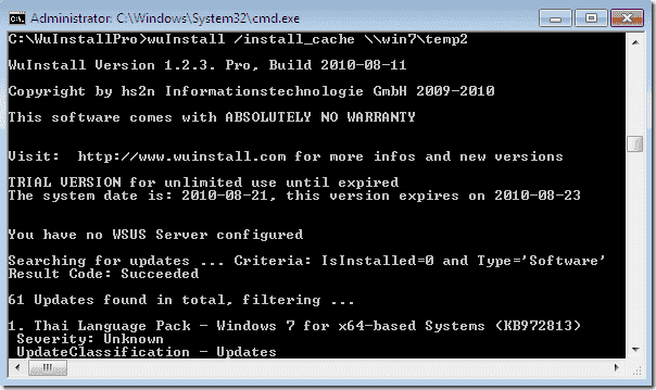 Push.Windows Updates - WuInstall Cache Feature Console