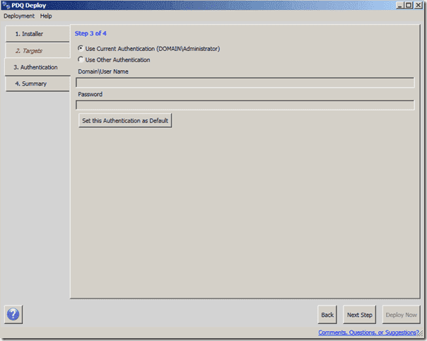 Software Deployment Software - PDQ Deploy - Authentication