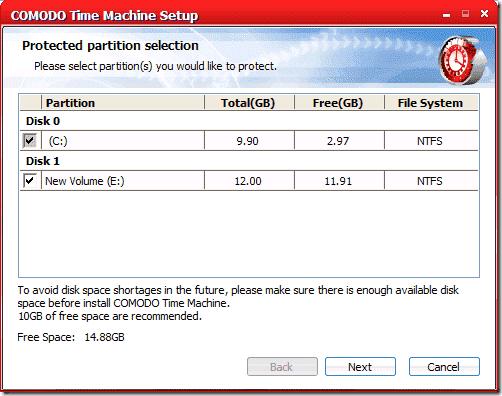 System Restore Utility - Comodo Time Machine Setup