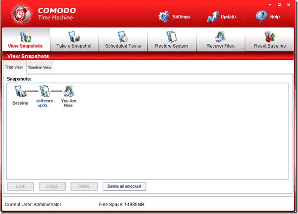 System Restore Utility Comodo Time Machine View Snapshots