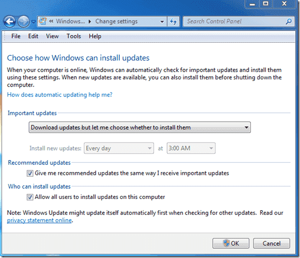 Turn off automatic reboots - Windows Update Settings